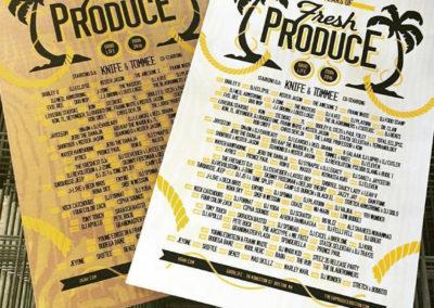 Fresh Produce Posters (Screenprinting, Trimming)